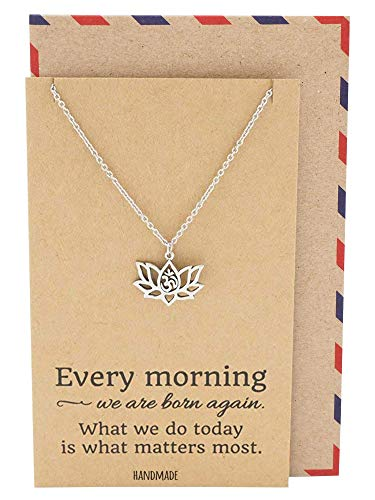 Quan Jewelry Yoga Lotus Flower Pendant Necklace with Om Symbol, Happy Birthday Gifts Ideas for Mom, Daughter, Women with Inspirational Quote on Gift Card (Silver)