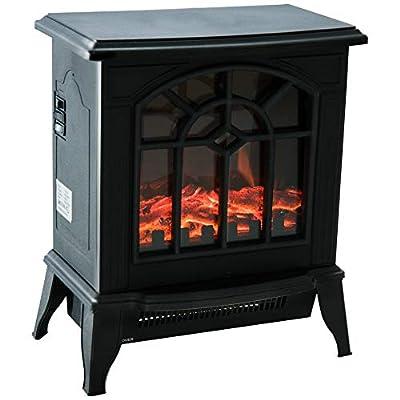 """HOMCOM 16"""" 1500W Freestanding Indoor Electric Fireplace Heater - Black"""