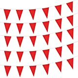 Red Pennant Flags,150 Pcs Banner Flag with Blank Flags,DIY Flag,Birthday,Party Celebrations and Shops Decorations,260Ft (Red)