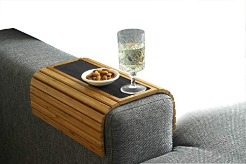 Bamboe dienblad tafel voor over de Armleuning van bank of stoel, met Anti-Slip.De Natuurlijke Kleur Past Goed in elk Interieur.
