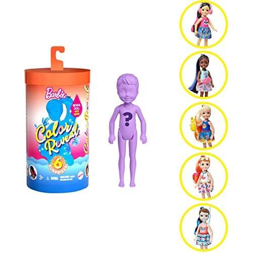 Barbie- Color Reveal Bambola Chelsea Assortimento a Sorpresa Tema Sole, Vestito e Acconciatura, Modelli Asortiti Giocattolo per Bambini 3+Anni, GTP52