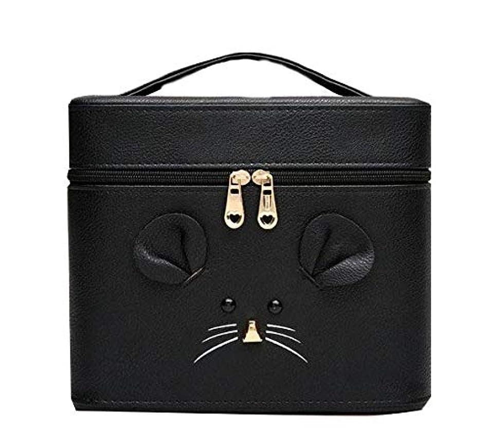 禁止気味の悪い外交化粧箱、黒漫画のマウス化粧ケース、ポータブル旅行化粧品ケース、美容ネイルジュエリー収納ボックス (Size : S)