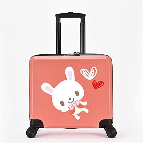 FGHHJ Equipaje para niños de 18 Pulgadas, Muchacha, niña, pequeña Maleta, Equipaje de Viaje con 4 Ruedas, cartón, Carcasa Dura, Peso Ligero,Pink Rabbit
