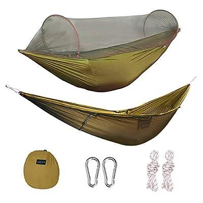 G4Free Portable Foldable Camping Hammock Net Hammock Tent 400 lbs Outdoor Indoor Backyard Hiking Backingpacking Tree Hammocks (110x50 inch)(Camel)