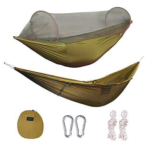 G4Free Portable Foldable Camping Hammock Net Hammock Tent 400 lbs Outdoor Indoor Backyard Hiking Backingpacking Tree Hammocks (110x50 inch)(Camel)