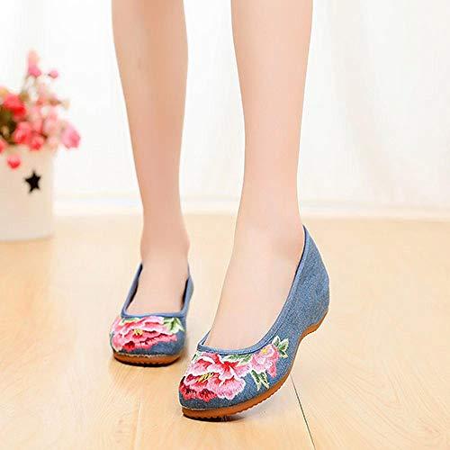 SYXYSM Zapatos Bordado Floral Mujer de algodón Slip en Zapatos Planos Cómodos de Mezclilla Ballets Damas Bordadas Bailarinas Zapatos Huesos (Color : Blue, Size : 40)
