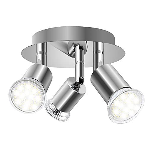 DoRight Faretti LED da Soffitto Orientabili 360° Faretto girevole a 3 vie Piatto tondo da 16 cm Faretti da soffitto Basi luminose 3X GU10 per soggiorno, cucina (senza sorgente luminosa)