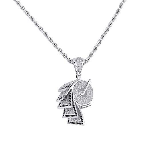 Hip-Hop-Papierform Anhänger Halskette, Kupfer eingelegten Zirkon Halskette Anhänger Zubehör (Gold, Silber) Halskette-Silver