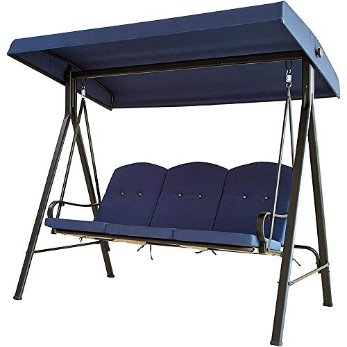 DNNAL Patio Swing-Stuhl, 3-Sitze Verstellbare Überdachung im Freien Portal-Converting Terrassenmöbel für Courtyard Balkon Freizeit,Blau