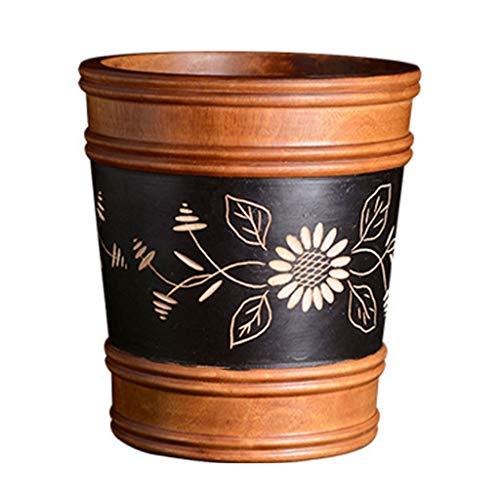 Hong Yi Fei-Shop papeleras Bote de Basura del hogar, Bote de Basura Hecho a Mano de Madera sólida, Talla Creativa, Florero/Regalo Fino