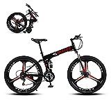 Hyhome Bicicletas de montaña plegables para adultos, 26 pulgadas, 3 radios ruedas de 27 velocidades, bicicleta de montaña de doble disco para hombres y mujeres (Blcak)