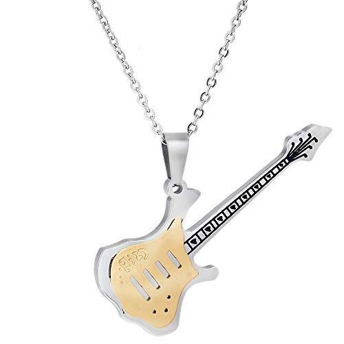ZHHAOXINJE Minimalist Männer Anhänger Titanium Stahl Halskette Persönlichkeit Gitarre Halskette Exquisite Zubehör Feines Geschenk An Freund Senden Geschenkbox für Männer Damen, Yellow