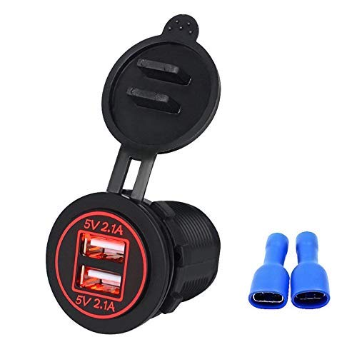 Linkstyle 12V 4.2A Dual USB Charger Socket Waterproof Power Outlet with Red LED Indicator Light & Dual Charging Ports for 12V Car RV Boat Marine Motorcycle Mobile