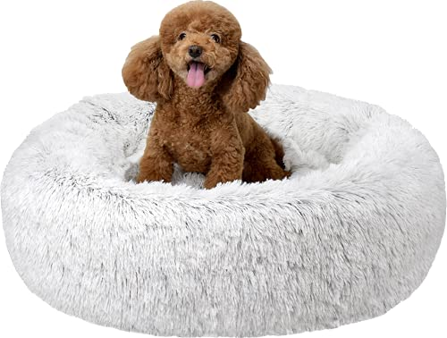 FuzzBall Fluffy Luxe Pet Bed, Calming Donut Cuddler – Machine Washable, Waterproof Base, Anti-Slip (for Small Dogs & Cats up to 25lbs)