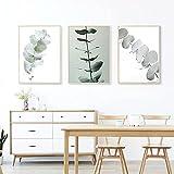 Póster de hojas de eucalipto verde nórdico e impresiones plantas simples lienzo pintura cuadros de pared para comedor decoración del hogar sin marco-40x50cmx3