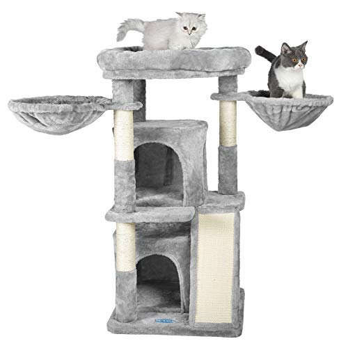 Hey-brother Katzenklettergerüst Katzenklettergestell Katzenbaum, 2-Katzennester, 2-Hängematte, geräumige Ruheplattform Oben, Sisalseil, Krallenschleifer, grau 100cm MPJ004W