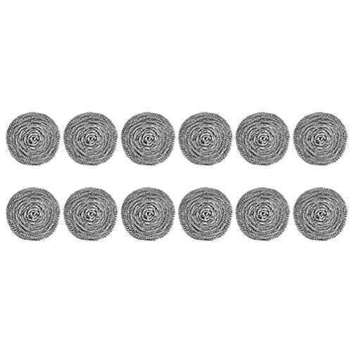 Uonlytech 12 Piezas Esponjas de Acero Inoxidable Almohadillas de Estropajo de Metal Limpiador de Cocina Esponja de Scour de Fregado para Eliminar El Óxido Utensilios de Cocina Sucio Plata