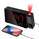 HOMVILLA Despertadores Digitales ,Reloj Despertador Digital, Despertador Proyector, 3 Brillos de Proyección, Atenuador, Proyector de 180 ° , Alarmas Dobles, Snooze, Radio FM, para Dormitorio