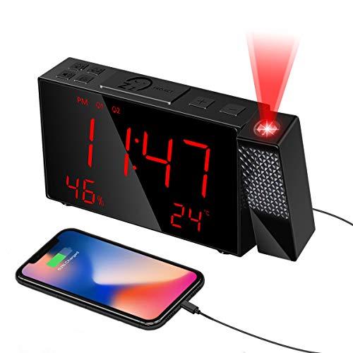 HOMVILLA Sveglia con proiezione, Sveglia Digitale con caricatore USB, Radio FM con timer di spegnimento, Orologio Digitale con Doppio Allarme, Facile da Usare, Snooze, comodino, soggiorno, ufficio