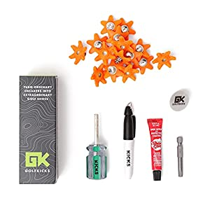 Golfkicks Golf Traction Kit for Sneakers with DIY Golf Spikes - Add Golf Cleats to Any Shoe, 20 Count - As Seen On Shark Tank - Neon Orange