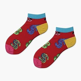Calcetín de algodón para Mujer Fruta Colorida Invisible Short Mujer Sudor Verano Cómodo Algodón Calcetines de Barco para Mujer Tobillo Bajo Femenino 1 par Calcetines cálidos
