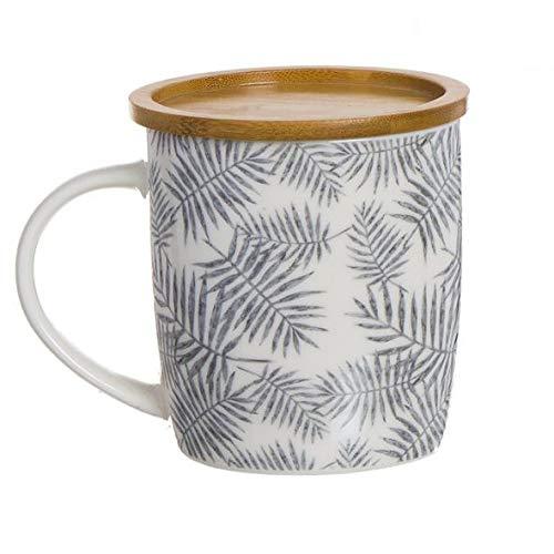 D'CASA Taza 350 ml para el té de Porcelana con Filtro y Tapa de Madera. Modelo Hojas.