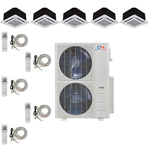 COOPER AND HUNTER Five 5 Zone Ductless Mini Split Ceiling Cassette Air Conditioner Heat Pump 9k 12k 12k 12k 18k