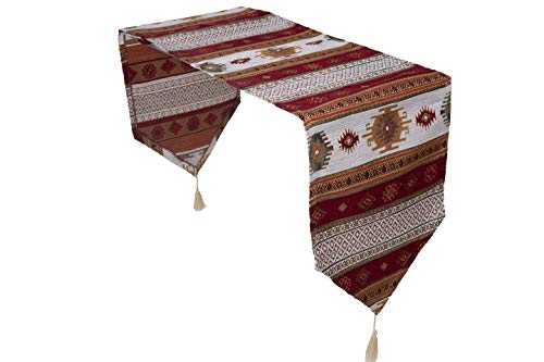 Chemin de table luxe anatoliennes Series, Rouge Blanc, 175x37 cm