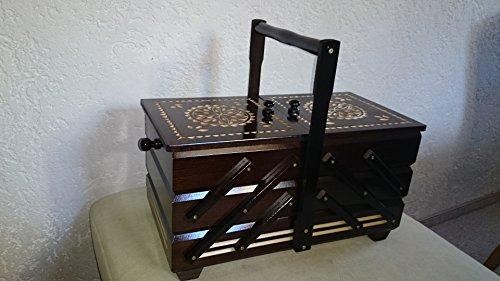 handelgross XXL Nähkasten Nähkästchen Nähbox Nähkorb Handarbeit dunkel geschnitzt