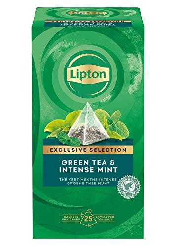 Lipton Grüner Tee, Intensive Minze Pyramidbeutel, 1er Pack (1 x 25 Teebeutel)
