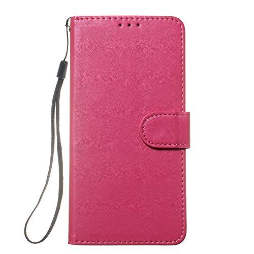 Lomogo Nokia 5.1 Hülle Leder, Schutzhülle Brieftasche mit Kartenfach Klappbar Magnetverschluss Stoßfest Kratzfest Handyhülle Case für Nokia5.1 - LOYHU250531 Rosa Rot
