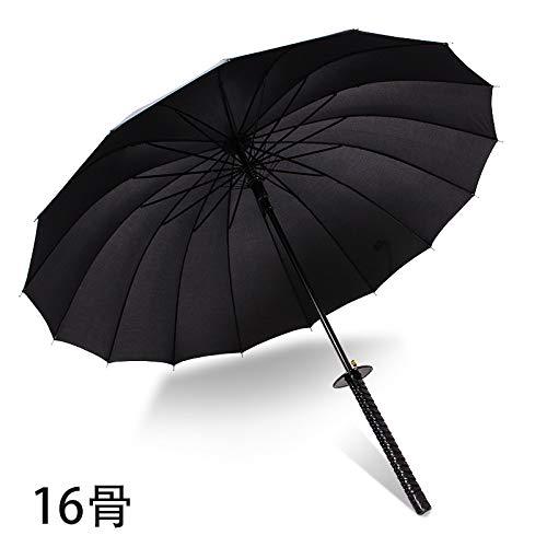 WEI Regenschirm-kreativer japanischer Samurai-Regenschirm-automatischer geöffneter gerader Regenschirm-Regen oder Glanz-Regenschirm des Gebrauches,16 Knochen,Einheitsgröße