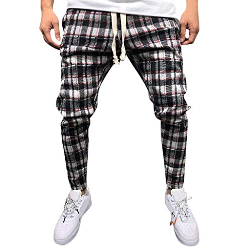 TWISFER Baumwolle Shorts für Männer Sommer Lang Leinen Hose Herren Leichte Slim Fit Sommerhose Tartan-Karierte Patchwork Elastische Taille Tunnelzug Sommerhose