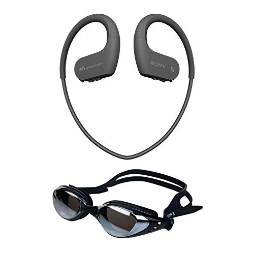 Sony NWWS623/B Waterproof and Dustproof Walkman with Bluetooth Bundle with Swimming Goggles (Anti Fog & UV Protection)