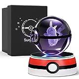 Amteker Regalos de Navidad para niños, ideas de regalos para cumpleaños, Pokemon Pikachu 3D Crystal Ball con base decolorada, regalo personalizado para niño y niña, caja de regalo