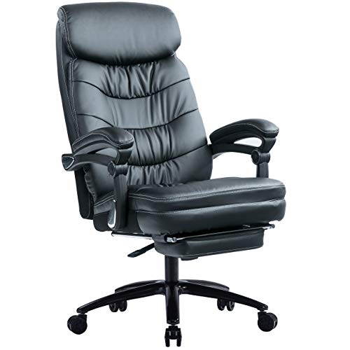 Padded Armrests KCREAM Leather Office Chair High Back Ergonomic Managerial Chairs /& Executive Chairs Home Office Reclining Desk Chair with Adjustable Footrest