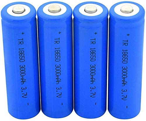 Batería 18650 de Punta Azul 3.7v 3000mah Baterías Recargables de Carga de Litio Celda de Iones de Litio para Linterna 4pcs-4 Piezas