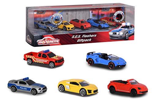 Majorette SOS Flashers 5er Geschenkset, Spielzeugautos mit Freilauf aus Metall, 2 Autos mit Licht & Sound, zu öffnende Teile, 7,5 cm