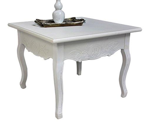 elbmöbel.de - Tavolino in legno, stile rustico shabby, colore: Bianco anticato