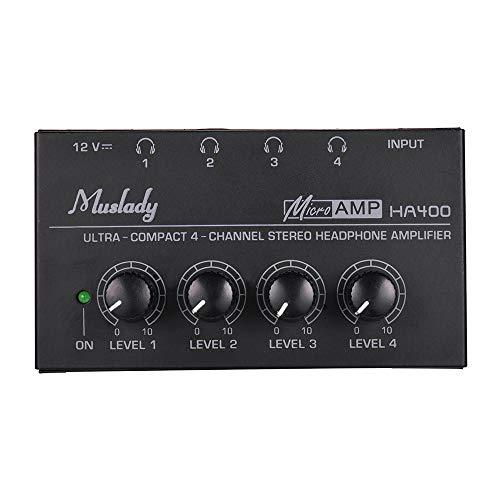 Muslady Amplificatore Cuffie 4 canali Mini Audio Stereo HA400 Ultra-compatta con Adattatore di alimentazione