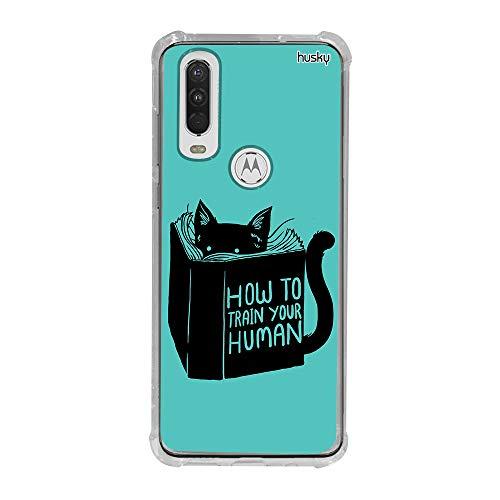 Capa Anti-Impacto Personalizada para Motorola One Action - Gato Manual de Humanos - Husky