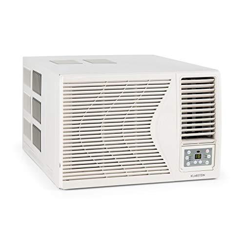 KLARSTEIN Frostik - Aire Acondicionado de Ventana, EEC A, 4 potencias, 3 Modos, Enfriar, Deshumidificar, Ventilador, 16-30°C, Temporizador, Salas 26-44 m², Mando a Distancia, 9.000 BTU/2,7 kW, Blanco