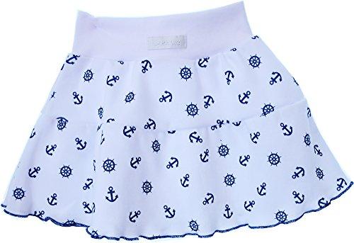 La Bortini Baby Kinder Rock Röckchen Blau Weiß Marine mit Anker Baumwolle (50)