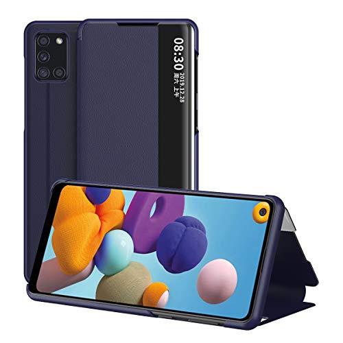 Galaxy A21S Hülle, Midcas Klapphüllen mit Sichtfenster Smart View Leder Tasche mit Standfunktion Schutzhülle für Samsung Galaxy A21S Blau