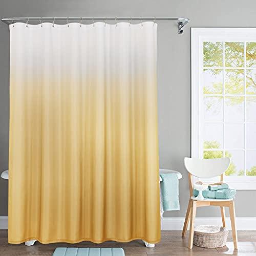 jinchan Ombre Duschvorhang Stoff Strukturiertes Design Wasserdicht für Badezimmer 183 cm lang 1 Panel mit Duschvorhanghaken Hellgelb