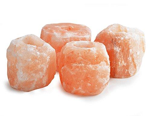 Set aus 4natürlichen Salz-Teelicht-Kerzenhalter–Teelichter enthalten
