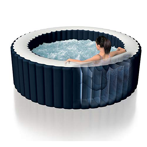 Intex 28405E PureSpa 4 Person Home Outdoor Inflatable Portable Heated Round Hot Tub Spa 58-inch x 28-inch with 120 Bubble Jets, Built in Heat Pump, and Drink Cup Holder Tray, Blue