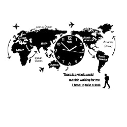 Large Wall Clocks Modern Design 3D Digital World Map Glow in Dark Hanging Clock Ultra Quiet Acrylic Watch Normal L