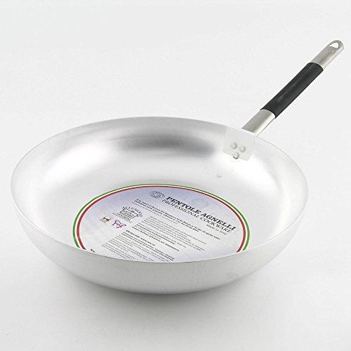 Pentole Agnelli Pfanne Senkkopf Hohe Springseil aus Aluminium, Dicke 3mm, mit Griff aus Edelstahl Cool, Silber Klassisch 40 cm Silber/schwarz