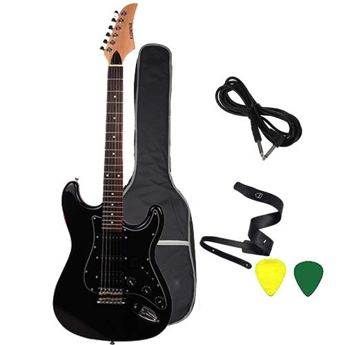 Kadence AstroMan Electric Guitar, 21 FRETS, ROSEWOOD FRETBOARD, H - S - S PICK UPS Black combo with Bag, Guitar strap,guitar cable and Picks